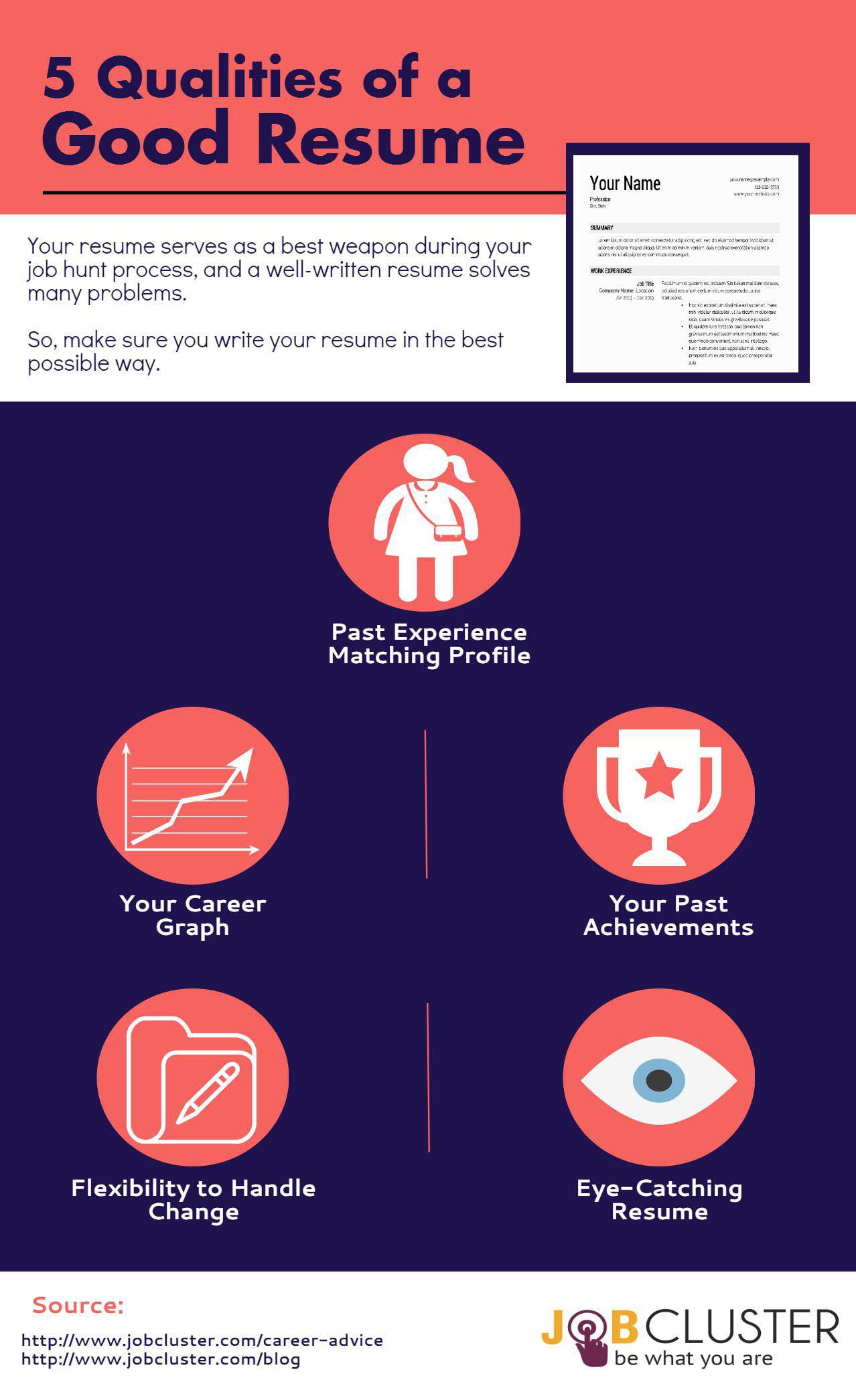 5 Resume Qualities Of A Good Resume  Infographic  Tips For A Good Resume