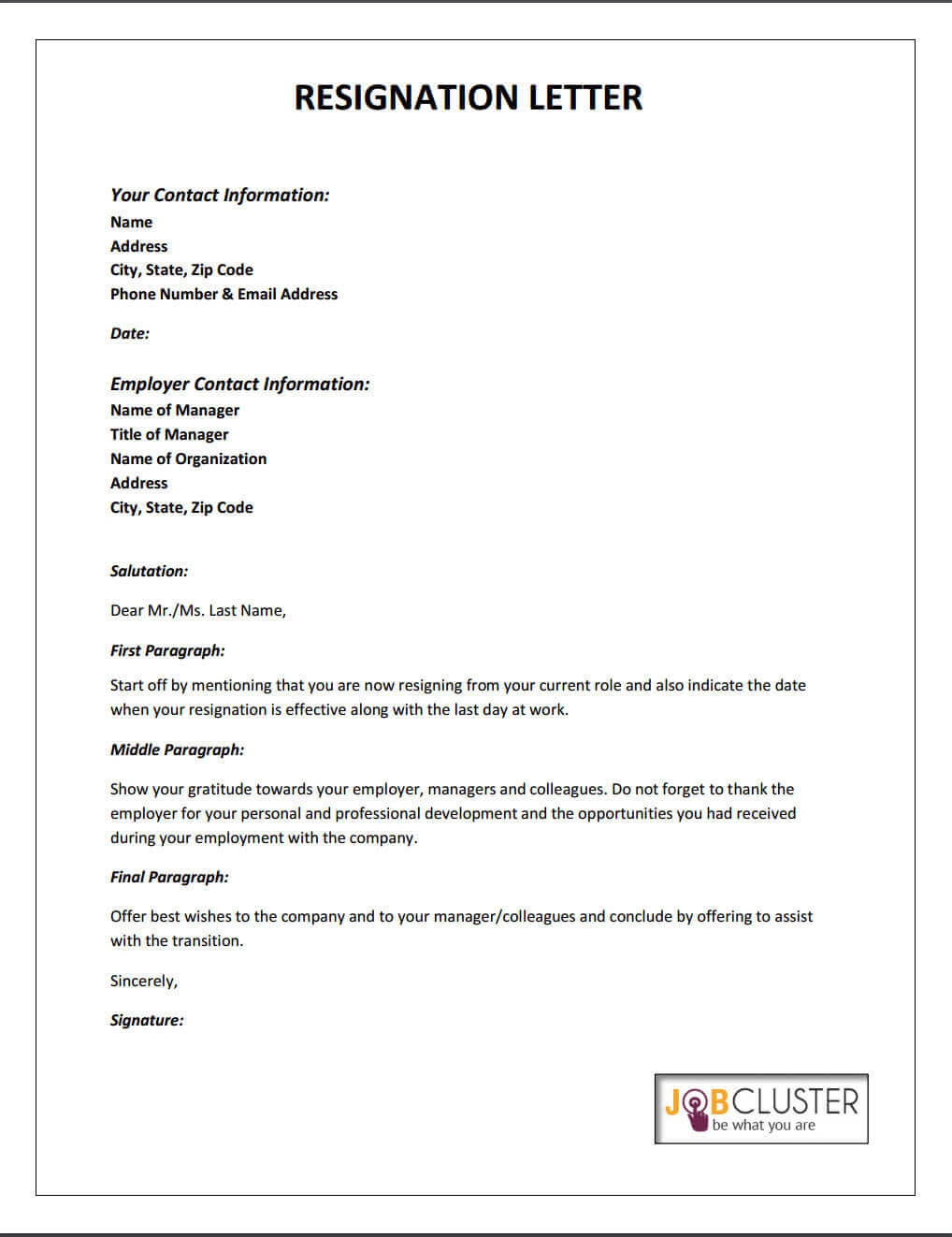 Resignation Letter To Manager Sample from www.jobcluster.com