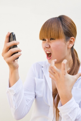 Blonde Lady Screaming At Phone