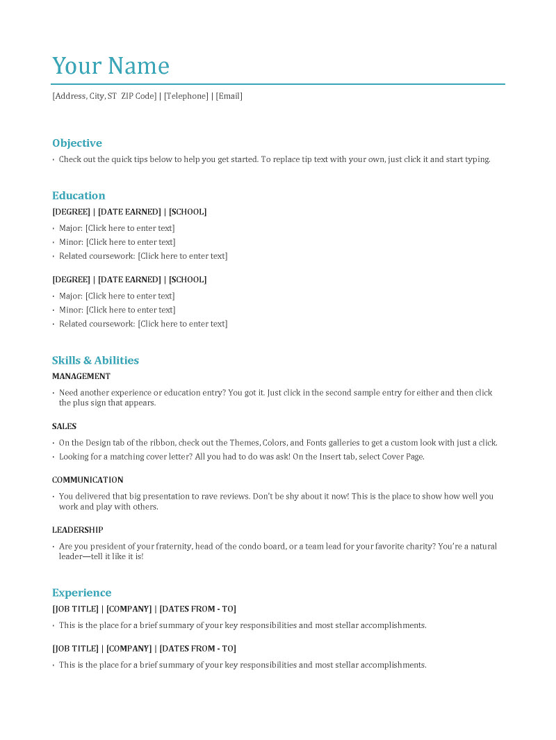 Functional Resume Format  Font For A Resume