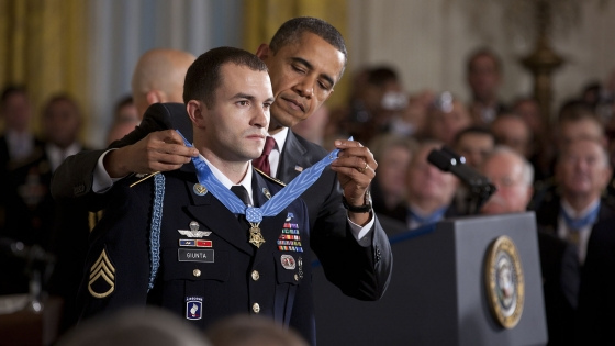 President Obama Honoring Soldier by Medal