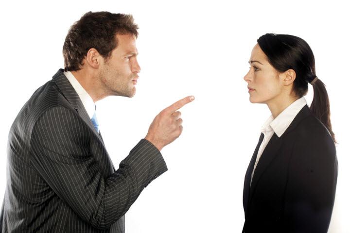Bad boss shouting on an employee