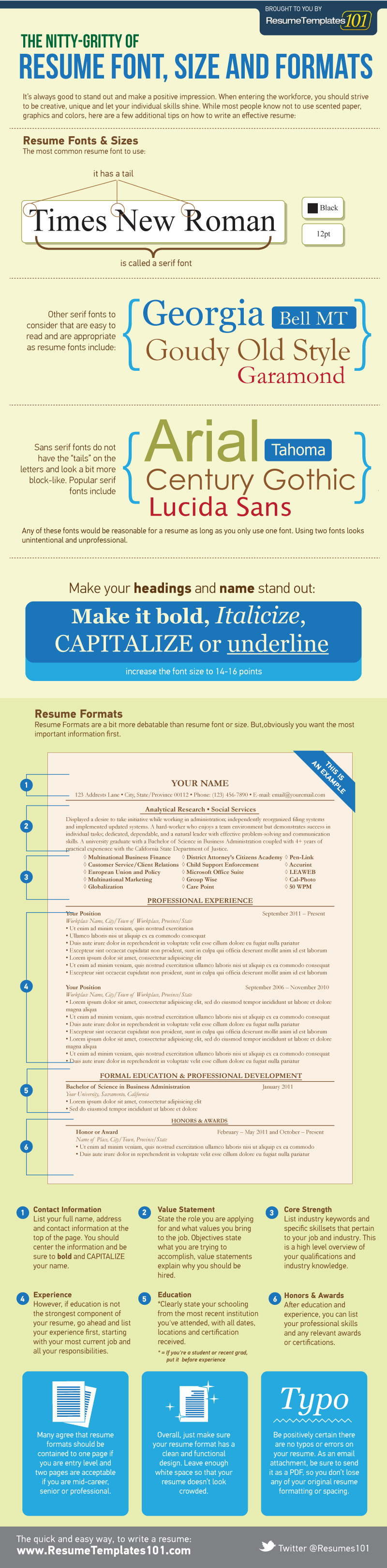Perfect Resume Font, Size And Formats  Infographic