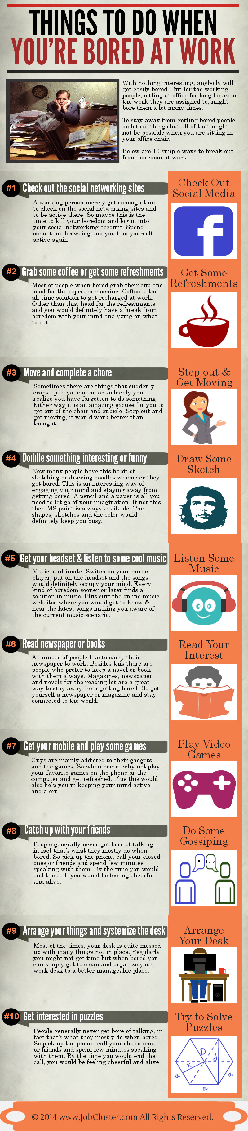 Things to do When you're Bored at Work- Infographic