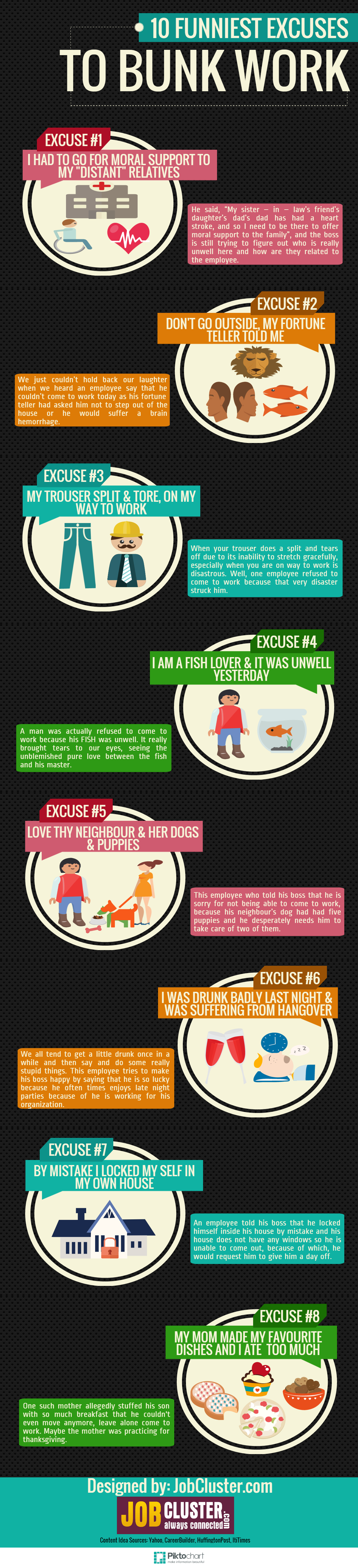 10 Funniest excuses to bunk work- infographic