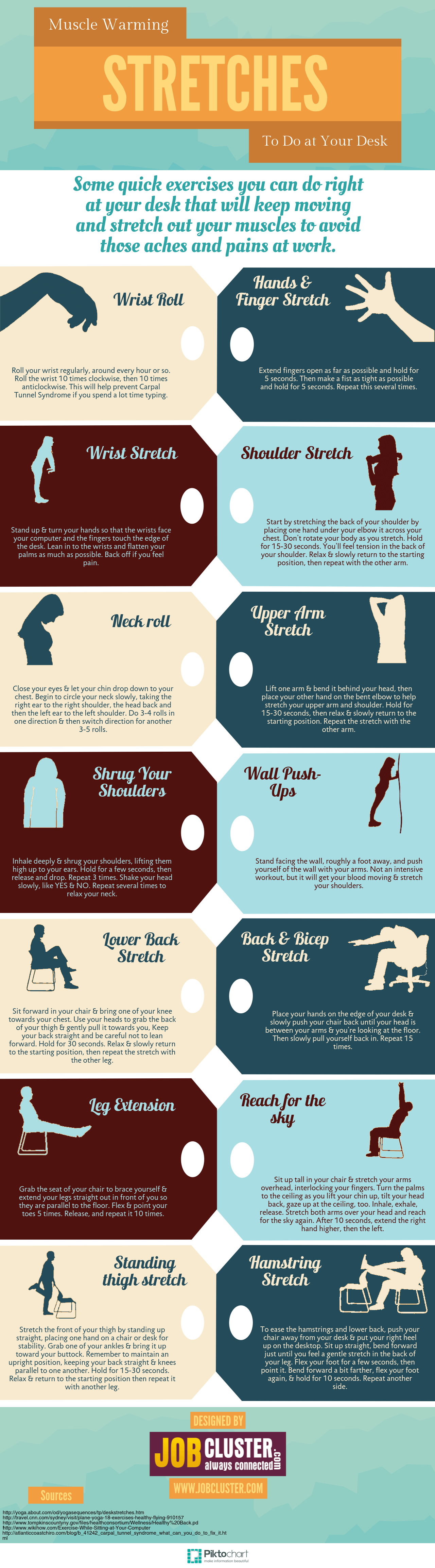 Easy stretching exercises at your desk