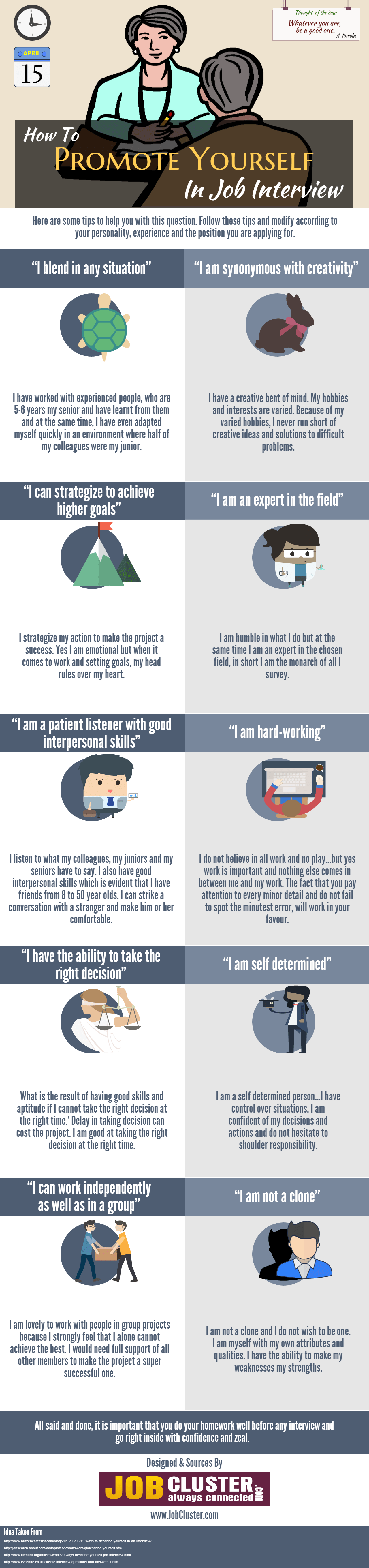 how to promote yourself in job interview infographic jobcluster