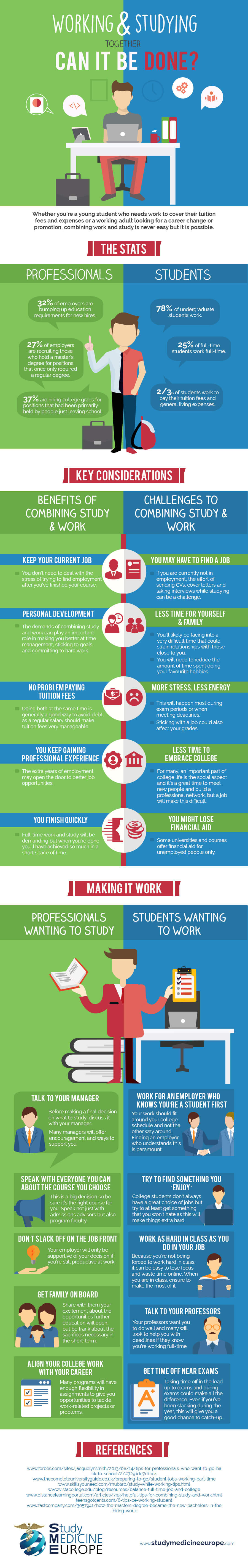 Working and Studying Together – Can It Be Done? (Infographic)